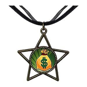 Chicforest Bronze Retro Style Hobbies Money Bag Five Pointed Star Pendant Pendant Necklaces