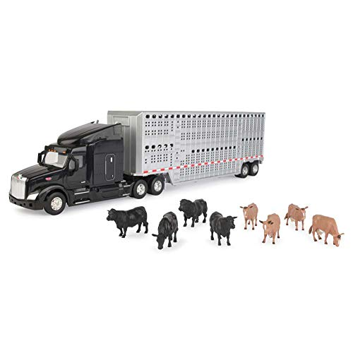Peterbilt Tractor Trailer Diecast Toy - ERTL 1/32 Semi with Cattle Trailer & Animals