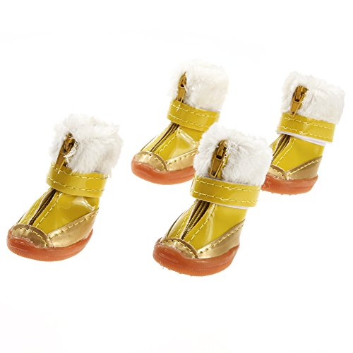 4pcs/set Candy Color Warm Pet Dog Waterproof Shoes Winter Boots Cotton Shoe - 3
