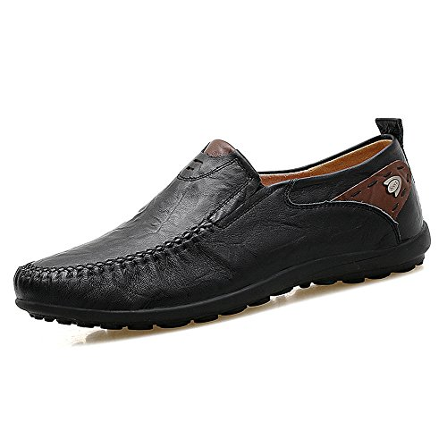 Domucos Men's Moccasins Leather Casual Slip On Loafers Driving Shoes Lazy Shoes-Black-9.5
