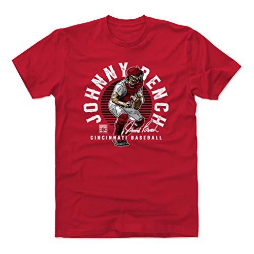 500 LEVEL Johnny Bench Cotton Shirt (XX-Large, Red) - Cincinnati Reds Men's Apparel - Johnny Bench Emblem K WHT