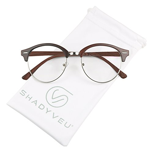 Cherry Glass Timeless - ShadyVEU - Round Half Frame Semi Rim Classic Retro Clear Lens Circle Eye Sun Glasses (Cherry Wood Frame, 139)