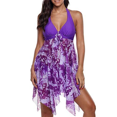 Plus Size Tankini Set for Women Two Piece Print Swimwear Halter Swimsuit Swimming Dress Purple