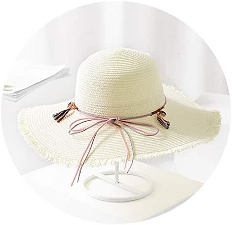 Summer Straw Hats Women Bow-Knot Sun Hats Female Rough Edges Tassel Sun hat Wide Brim Beach hat