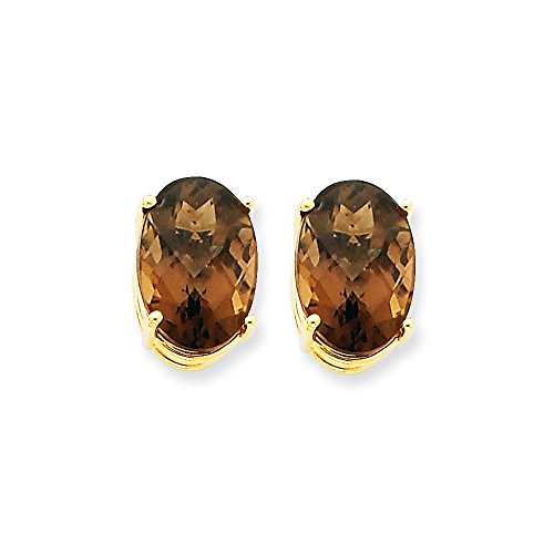 14k Yellow Gold 14x10 Oval Smoky Quartz Earrings 16x10 (Faceted Oval Smoky Quartz Ring)