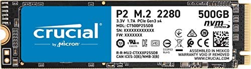 Crucial P2 500GB 3-D NAND NVMe PCIe M.2 SSD Up to 2400MB/s - CT500P2SSD8