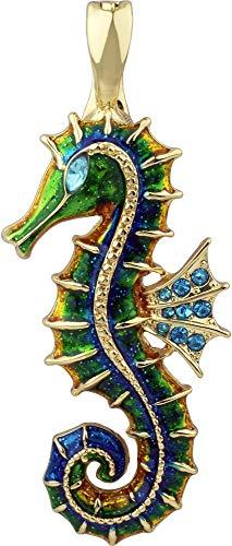 - Wearable Art by Roman Enamel Seahorse Pendant Blue/Green/Gold Tone