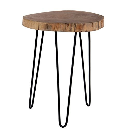 Decoriny Kennesaw Acacia Wood Live Edge Stool with Hairpin Legs, Natural Edge End Table,Wood Accent Side Table, Nightstand, Plant Stand 21.5