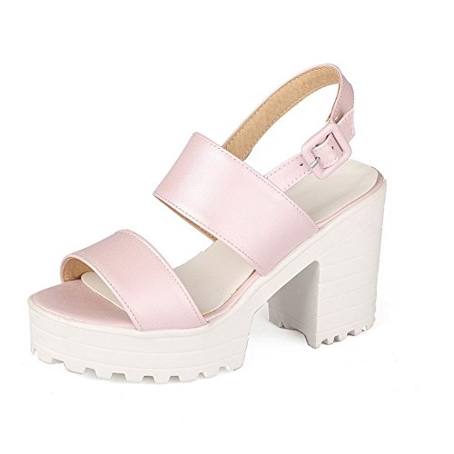 WeiPoot Women's PU Solid Buckle Open Toe High-Heels Platforms-Sandals, Pink, 38 by WeiPoot