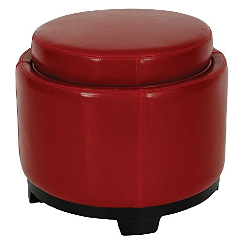 Faux Cocktail Ottoman Color: Black / Red