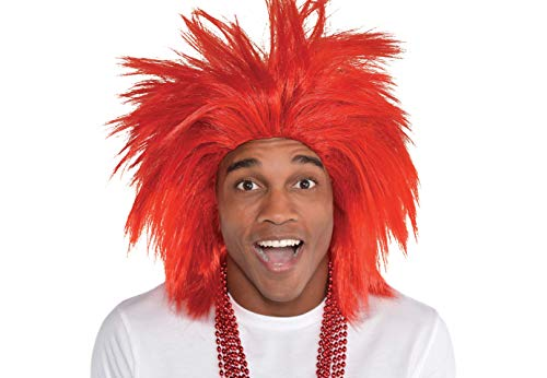 (Amscan Game Ready Team Spirit Party Crazy Wig Accessory, Red, Synthetic Hair , One Size)