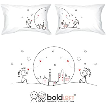 BOLDLOFT MIss Us Together Couples Pillowcases-Long Distance Relationships Gifts, Long Distance Gifts for Couples, Anniversary Gifts Gifts for Him for Her, His and Hers Gifts, LDR Gifts