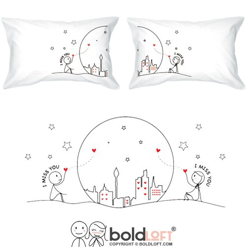 BOLDLOFT MIss Us Together Couples Pillowcases|Long Distance Relationships Gifts for Girlfriend,Boyfriend|Long Distance Gifts for Couples|LDR Gifts for Him,Her|Christmas Gifts for Couples
