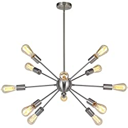 Sputnik Chandelier 12 Lights Modern Pendant lighting Brushed Nickel Industrial Vintage Ceiling Light UL Listed By VINLUZ