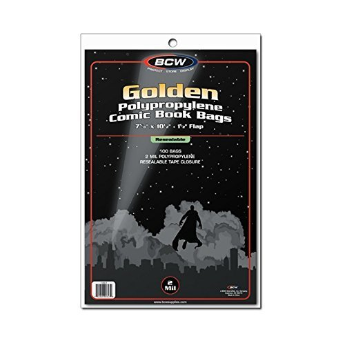(100) Golden Age Resealable Size Crystal Clear Comic Book Cover Bags by BCW