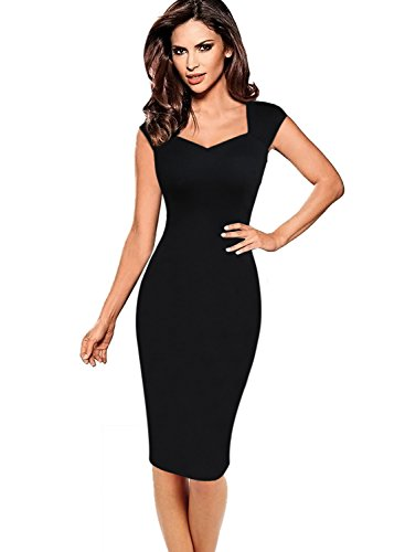 VFSHOW Womens Black Elegant Sleeveless Work Business Cocktail Party Sheath Dress 2836 BLK - Dress Sheath Neck Square