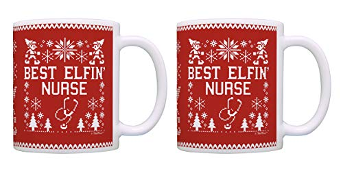 Christmas Coffee Mugs Best Elfin' Nurse Ever Ugly Sweater Theme 2 Pack Coffee Mugs Tea Cups Red]()
