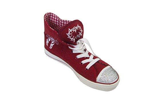 Madl mit aus und Leinen Stickerei Sneaker rot Damen Sneaker Trendige Krüger Rot Strass Trachtenschuhe in xFfzfv