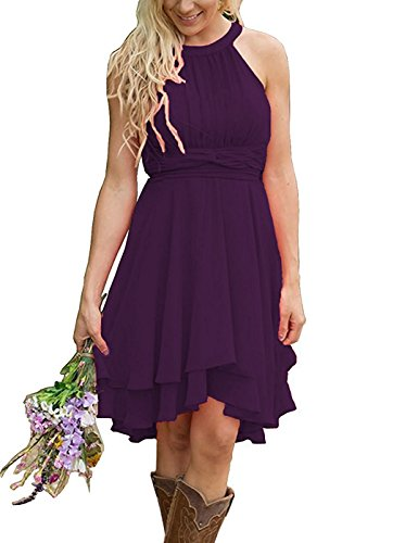 Meledy Women's Knee Length Beach Plus Size Bridesmaid Dresses Western Wedding Guest Dresses Short Maid of Honor Gown Grape US20