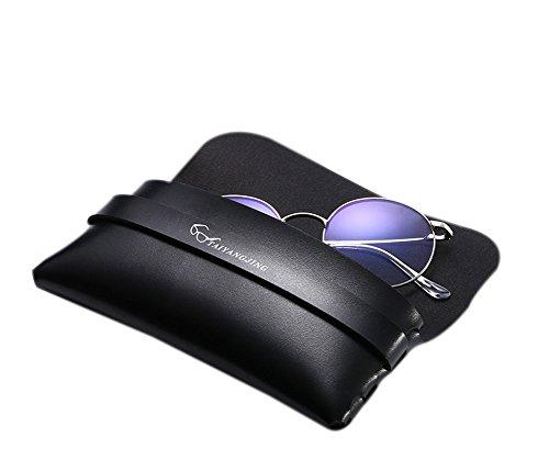 Black Leather Carry Case (Benoke Portable PU Leather Sunglasses Pouch Soft Eye Glasses Carry Case for Women Men Horizontal Sunglass Box (Black 1#))