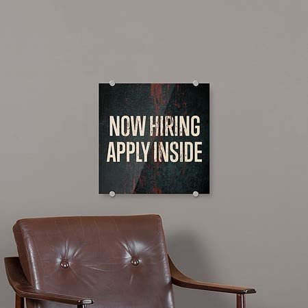 Ghost Aged Rust Premium Acrylic Sign 16x16 CGSignLab 5-Pack Now Hiring Apply Inside