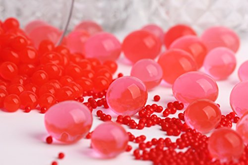 24 Pack Water Gel Beads Pearls for Wedding Centerpiece, Vase Filler, Party Decoration, Plants, Sensory Toys. (Red)