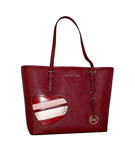 MICHAEL Michael Kors Women's HEARTS Jet Set Travel MEDIUM Leather Carry All Tote Handbag (Heart Open Top Tote)