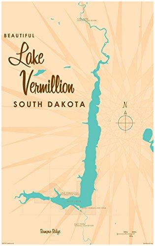 Lake Vermillion South Dakota Map Vintage-Style Art Print by Lakebound (30