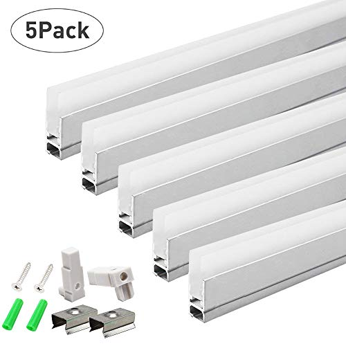 LightingWill 5Pack 3.3ft/1M LED Crystal Aluminum Channel System 8.5mm Ultra Thin Silver Track Extrusion Profile with Acrylic Frosted Covers, Mounting Clips & End caps for LED Strip Light Installation