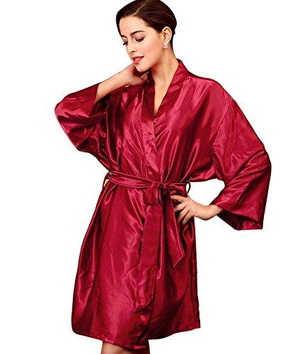 Raso SaiDeng In Da Casual Vestaglie Notte Traspirante Kimono Scollo Bodeaux Donna V A grPgqxOBwn