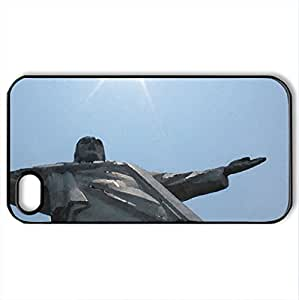 Christ The Redeemer - Case Cover for iPhone 4 and 4s (Religious Series, Watercolor style, Black)