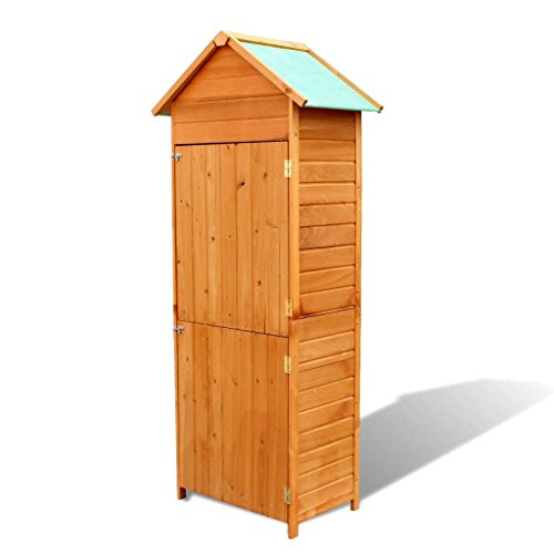 Festnight Garden Shed Double Door Outdoor Wooden Cabinet with 2 Shelves Patio Waterproof Tool Shed Lawn Care Equipment Pool Supplies Storage Organizer Cabinet (Best Paint For Garden Shed)