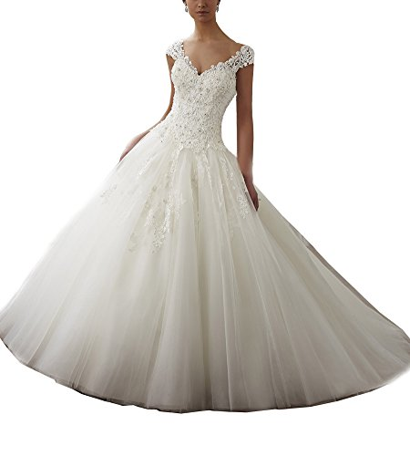 Beauty Bridal Plus Size V Neck Cap Sleeve A Line Lace Wedding Dress 2016(26W,White)