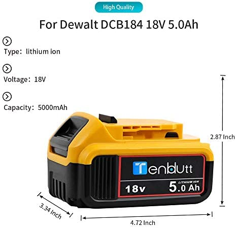 [2 Packs] TenHutt 18V 5.0Ah Replacement Battery for Dewalt DCB184 DCB184B-XJ DCB180 DCB181 DCB182 DCB183 DCB185 18V XR Power Tool Battery