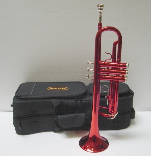 Crystalcello CWD415 B Flat Lacquer plated Trumpet with Carrying Case - Red by Merano