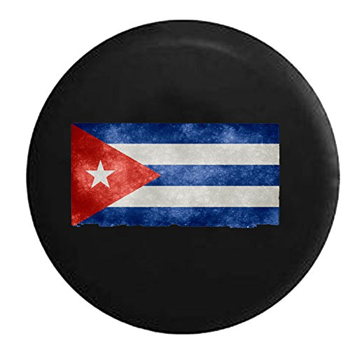 Cuban Flag Distressed and Tattered Cuba Castro Spare Jeep Wrangler Camper SUV Tire Cover 32 in