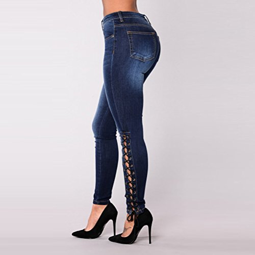 pour Ripped Stretch Blue High Zhhlaixing Skinny Taille Waisted Jeans Boyfriend Straps lastique Grande Design Femme wzqw1Zf