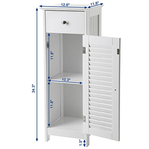 SONGMICS Bathroom Floor Cabinet Storage Organizer Set with Drawer and Single Shutter Door Wooden White UBBC43WT by SONGMICS (Image #5)