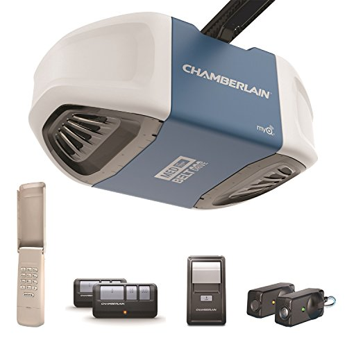 Garage Door Opener System (Chamberlain B510 Ultra-Quiet and Strong Belt Drive Garage Door Opener with Med Lifting Power, Keyless Entry Keypad Included, Blue)