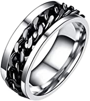 Wedding Mens Stainless Band Ring Spin Titanium Steel Chain Ring Beer Bottle Opener Ring For Father's