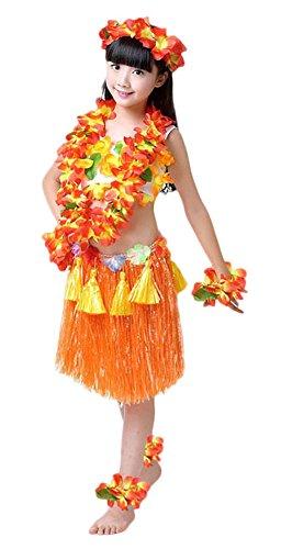 [Fighting to Achieve Girls Hawaiian Hula Set with Tassels 8pcs] (Tahitian Hula Costume)