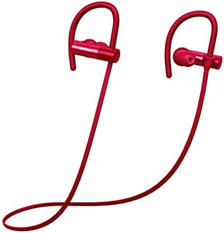 Mpow D4 Bluetooth Headphones, IPX7 Waterproof Sports Earphones w Mic, HD Sound, 8 Hours Playtime, Secure Comfort Fit Metal Earbuds for Running, Jogging, Cycling, Exercising, Pink