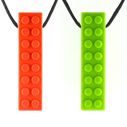 Quell-O Mega Brick Sensory Chew Necklace - Tough - Tactile Chewelry for Mild Chewers (Green, Red)