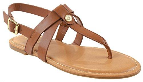 Chaussures En Bambou Femmes Bayside-72v T-sangles Sandales En Cuir Crp Avec Boucle Slingback Tan