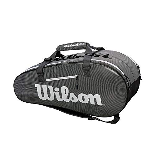 Wilson Super Tour 2 Large Compartment Tennis Bag, Black/Grey