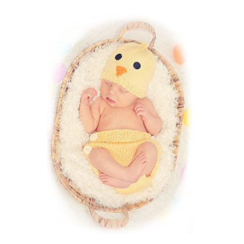 Newborn Baby Yellow Chicken Photo Props, Besutana Handmade Hat and Diaper Cover Set