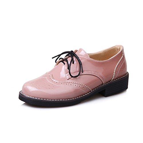 Pink Cuero Zapatos Tacón de Tacón Zapatos Alto Grueso para de Retro Mujer de Individuales Redonda Cabeza Zapatos FRaSqa