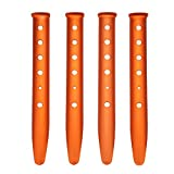 Aketek 4pcs Orange Color Aluminum Tent Stakes for Camping in Snow and Sand Tent Boating Hiking Backpacking Picnic Shelter Shade Canopy Outdoor Activity