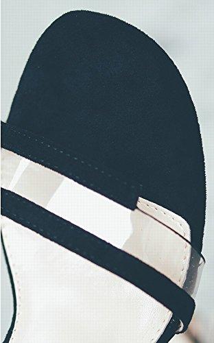 Hebilla Zapatos Shoes Con Alto negro Wild De 38 Transparentes Word Thick Dhg Fairy Crystal Tacón Sandalias w1vq1BY