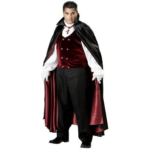 Vampire Costumes For Couples (InCharacter Costumes, LLC Men's Gothic Vampire Costume, Black/Burgundy, XXX-Large)